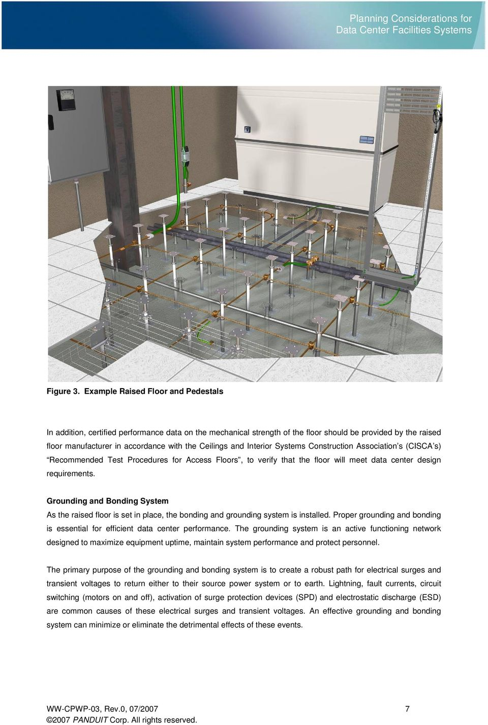 and Interior Systems Construction Association s (CISCA s) Recommended Test Procedures for Access Floors, to verify that the floor will meet data center design requirements.
