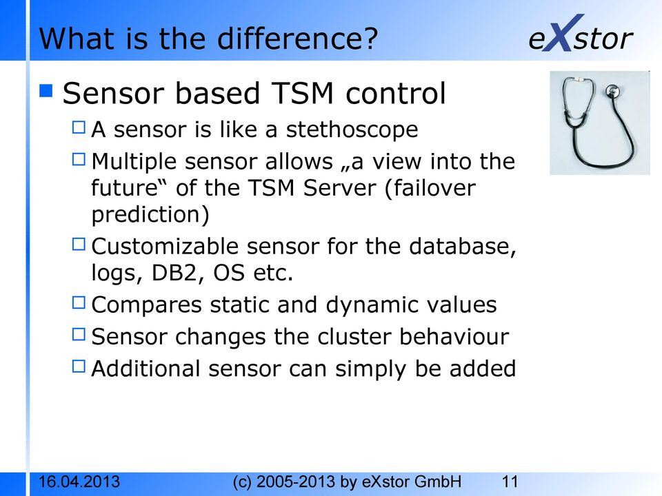 the future of the TSM Server (failover prediction) Customizable sensor for the database,