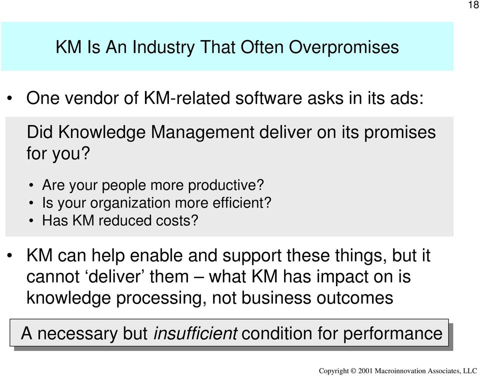 Is your organization more efficient? Has KM reduced costs?