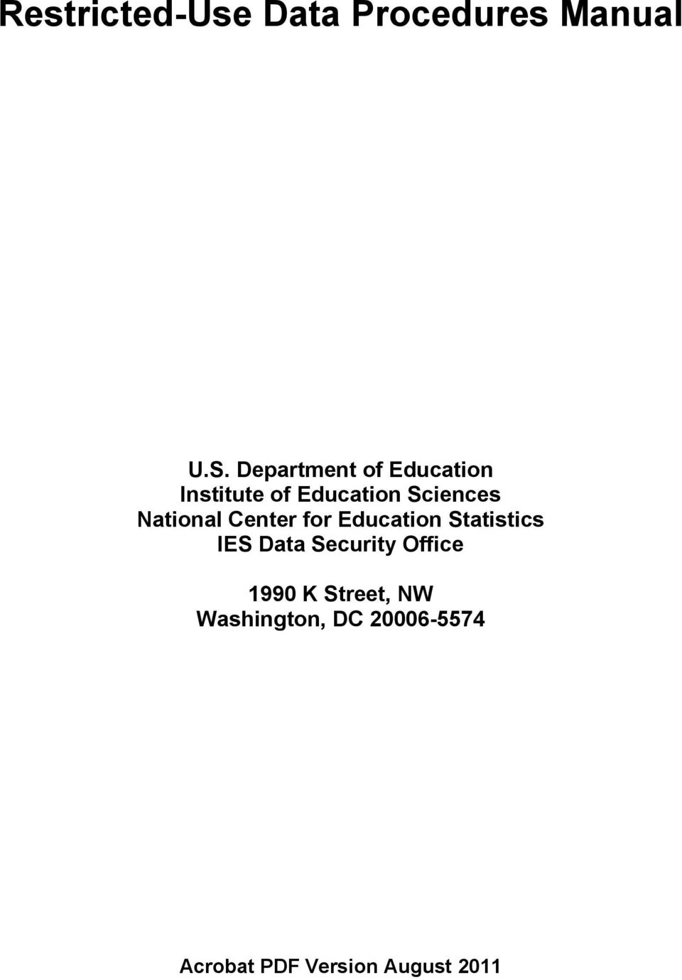 National Center for Education Statistics IES Data Security