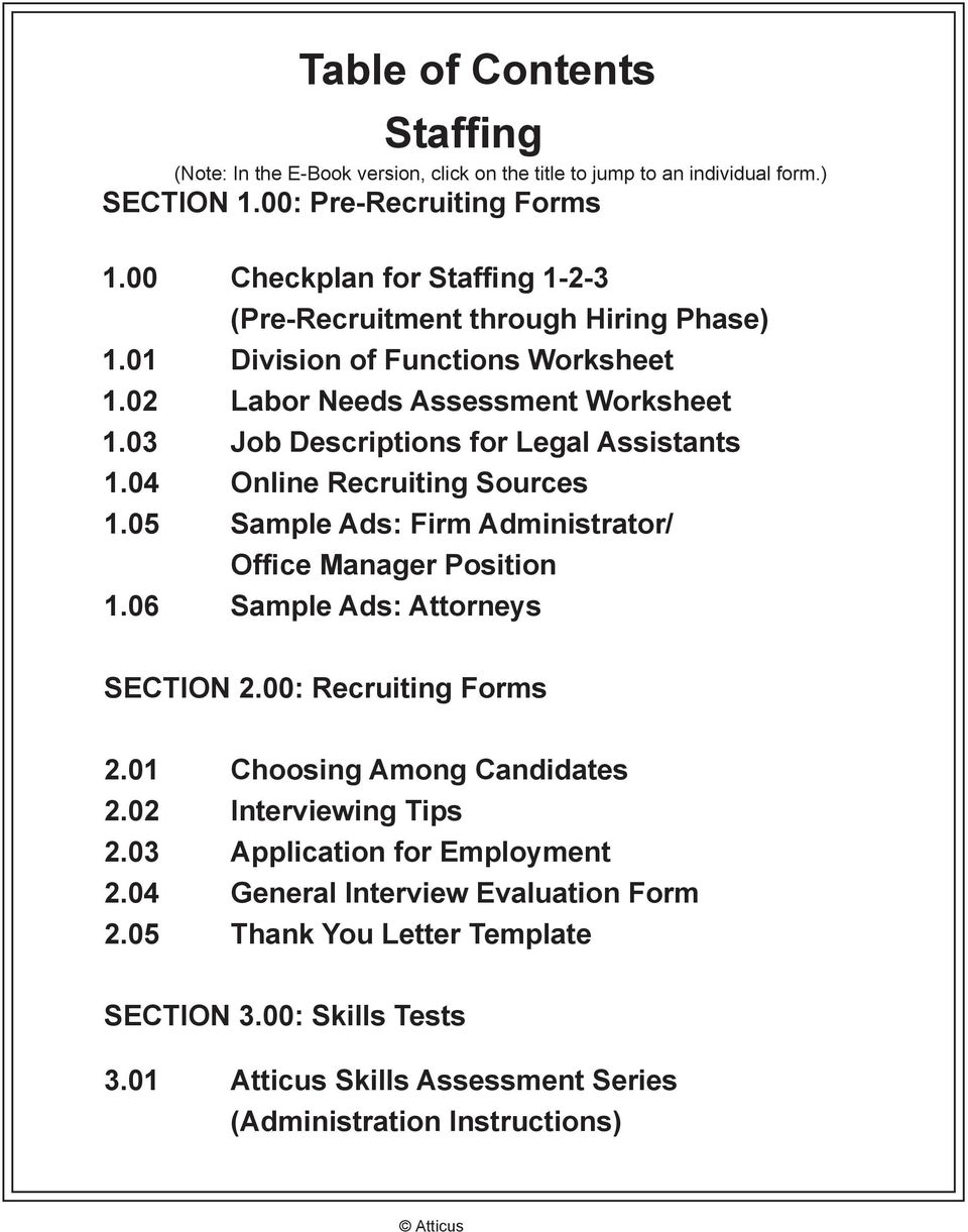 03 Job Descriptions for Legal Assistants 1.04 Online Recruiting Sources 1.05 Sample Ads: Firm Administrator/ Office Manager Position 1.06 Sample Ads: Attorneys SECTION 2.