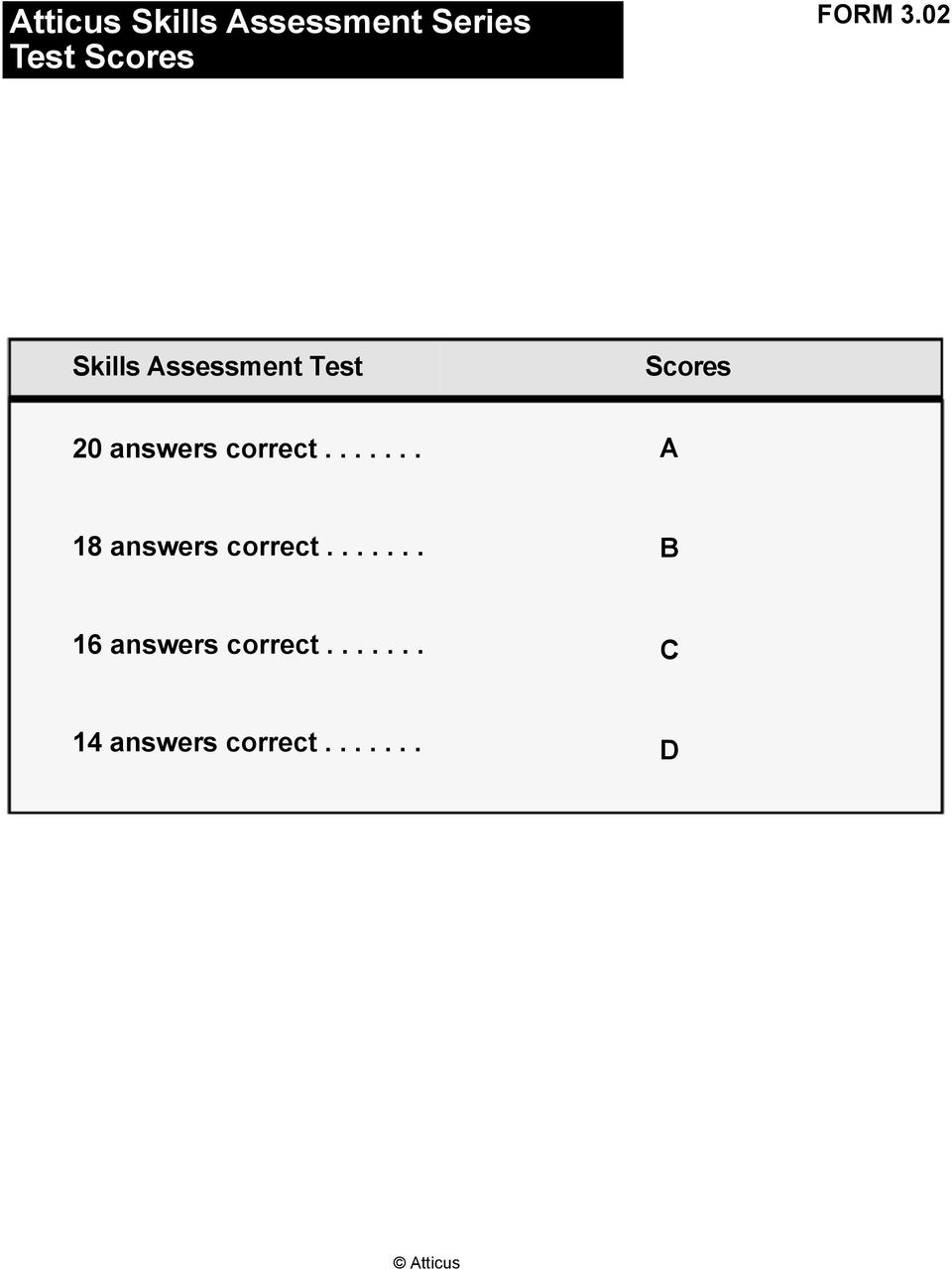 02 Skills Assessment Test Scores 20 answers correct.