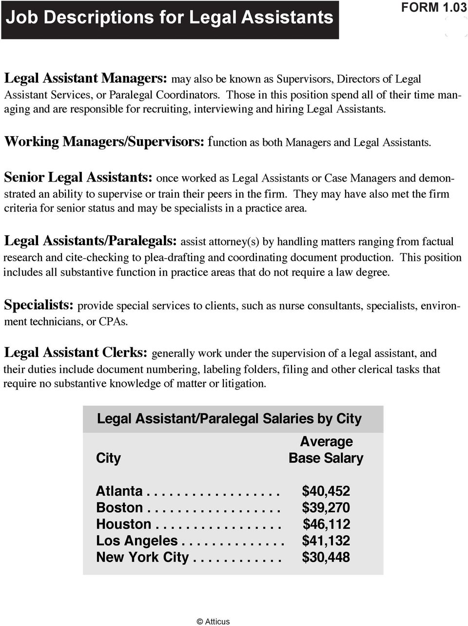 03 Legal Assistant Managers: may also be known as Supervisors, Directors of Legal Assistant Services, or Paralegal Coordinators.