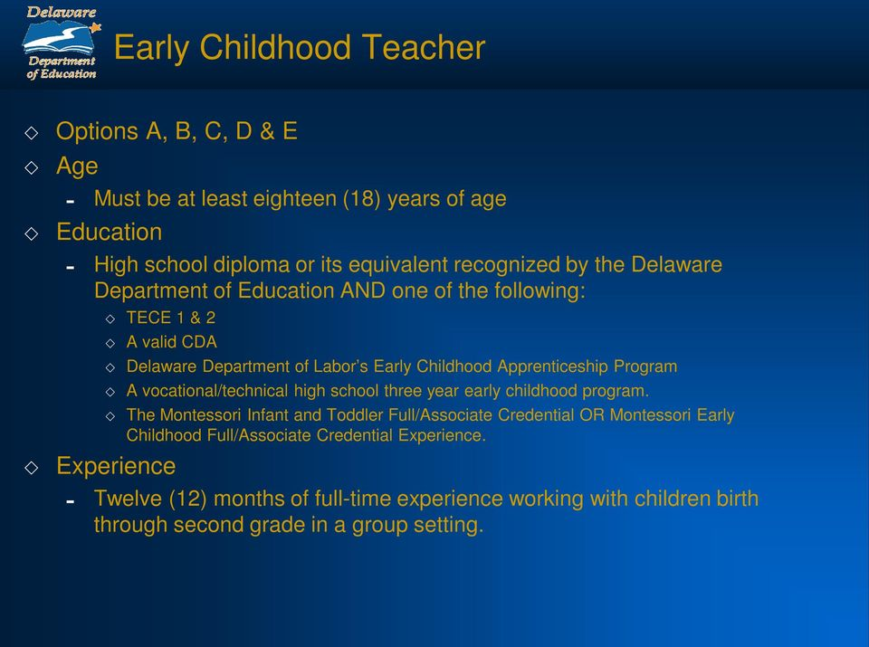 vocational/technical high school three year early childhood program.