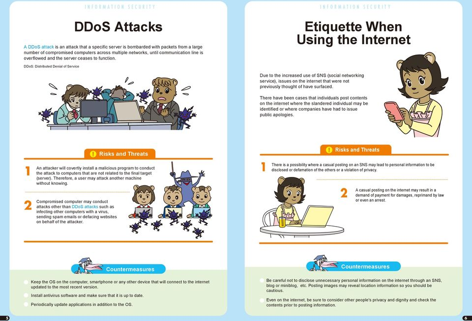 Etiquette When Using the Internet DDoS: Distributed Denial of Service Due to the increased use of SNS (social networking service), issues on the internet that were not previously thought of have
