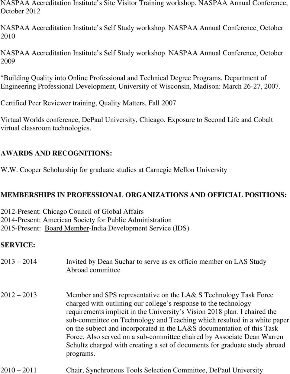 NASPAA Annual Conference, October 2009 Building Quality into Online Professional and Technical Degree Programs, Department of Engineering Professional Development, University of Wisconsin, Madison: