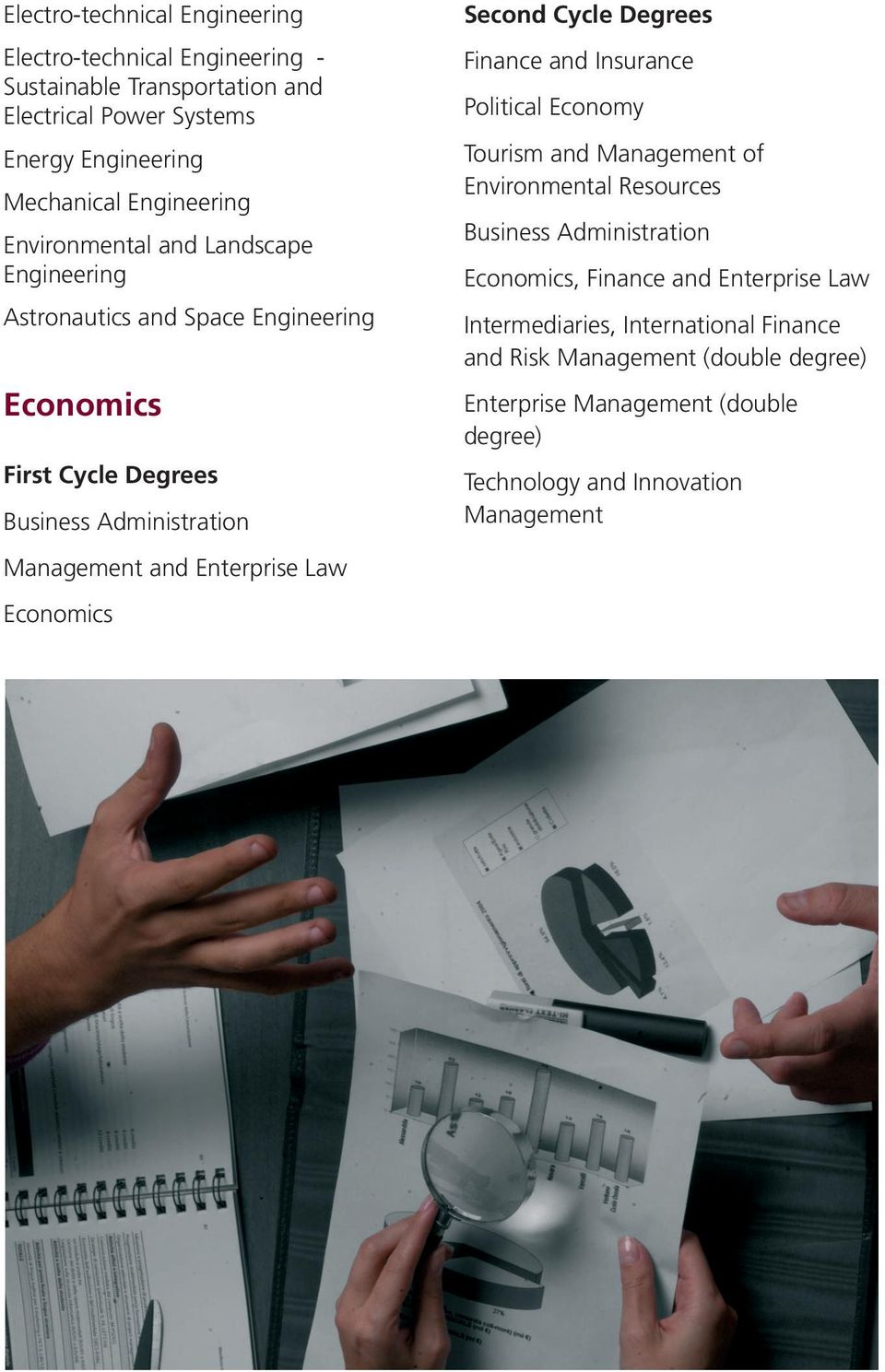 Administration Economics, Finance and Enterprise Law Astronautics and Space Engineering Intermediaries, International Finance and Risk Management