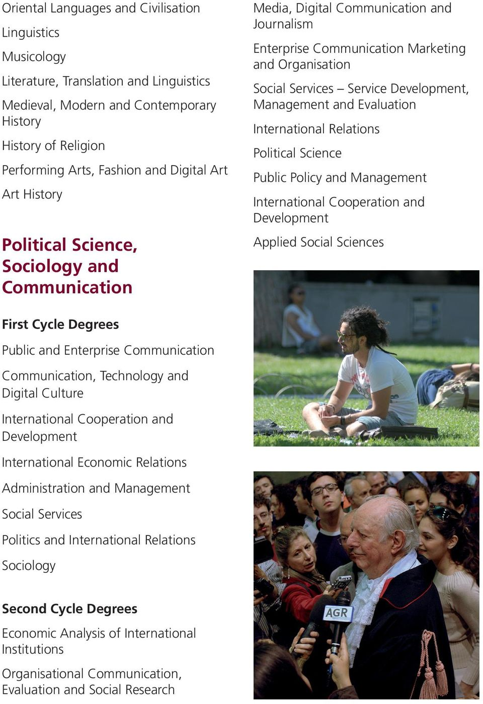 International Economic Relations Administration and Management Social Services Politics and International Relations Sociology Economic Analysis of International Institutions Organisational