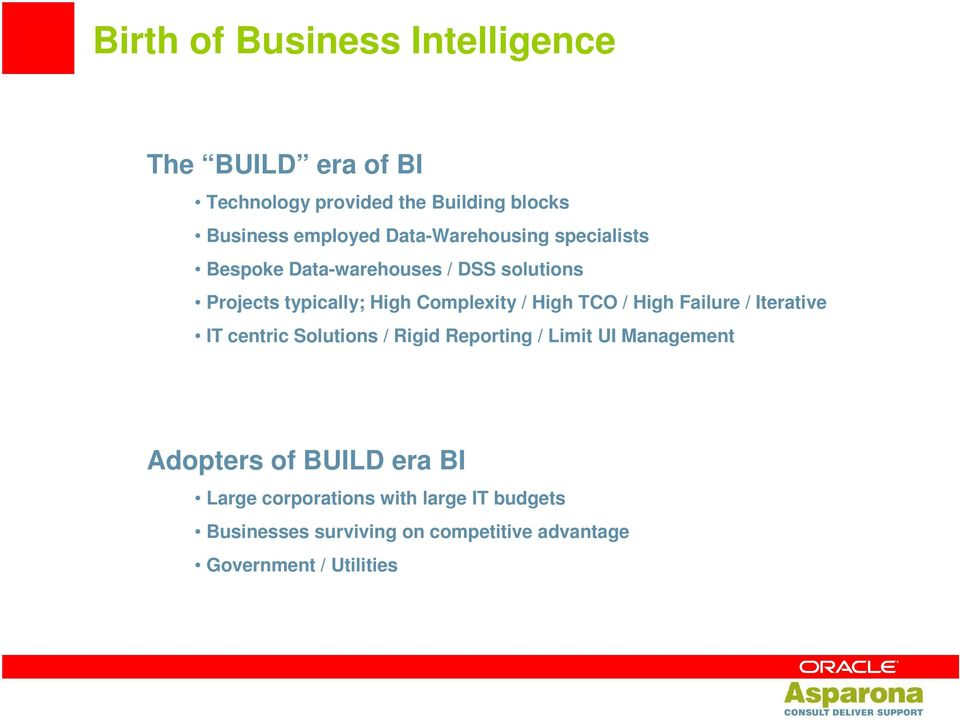TCO / High Failure / Iterative IT centric Solutions / Rigid Reporting / Limit UI Management Adopters of BUILD