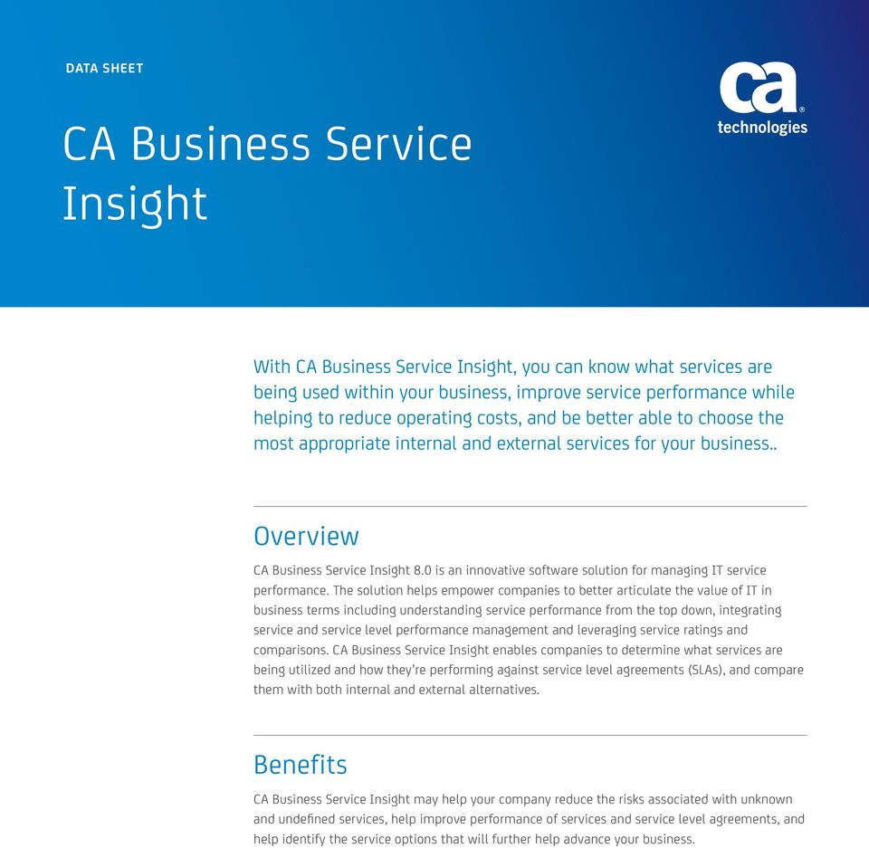 0 is an innovative software solution for managing IT service performance.