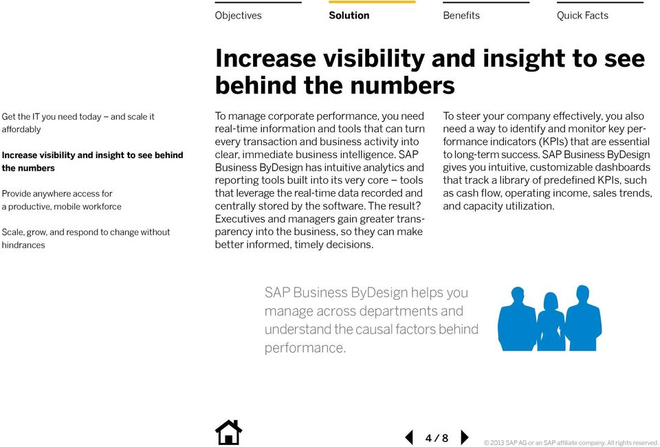 SAP Business ByDesign has intuitive analytics and reporting tools built into its very core tools that leverage the real-time data recorded and centrally stored by the software. The result?