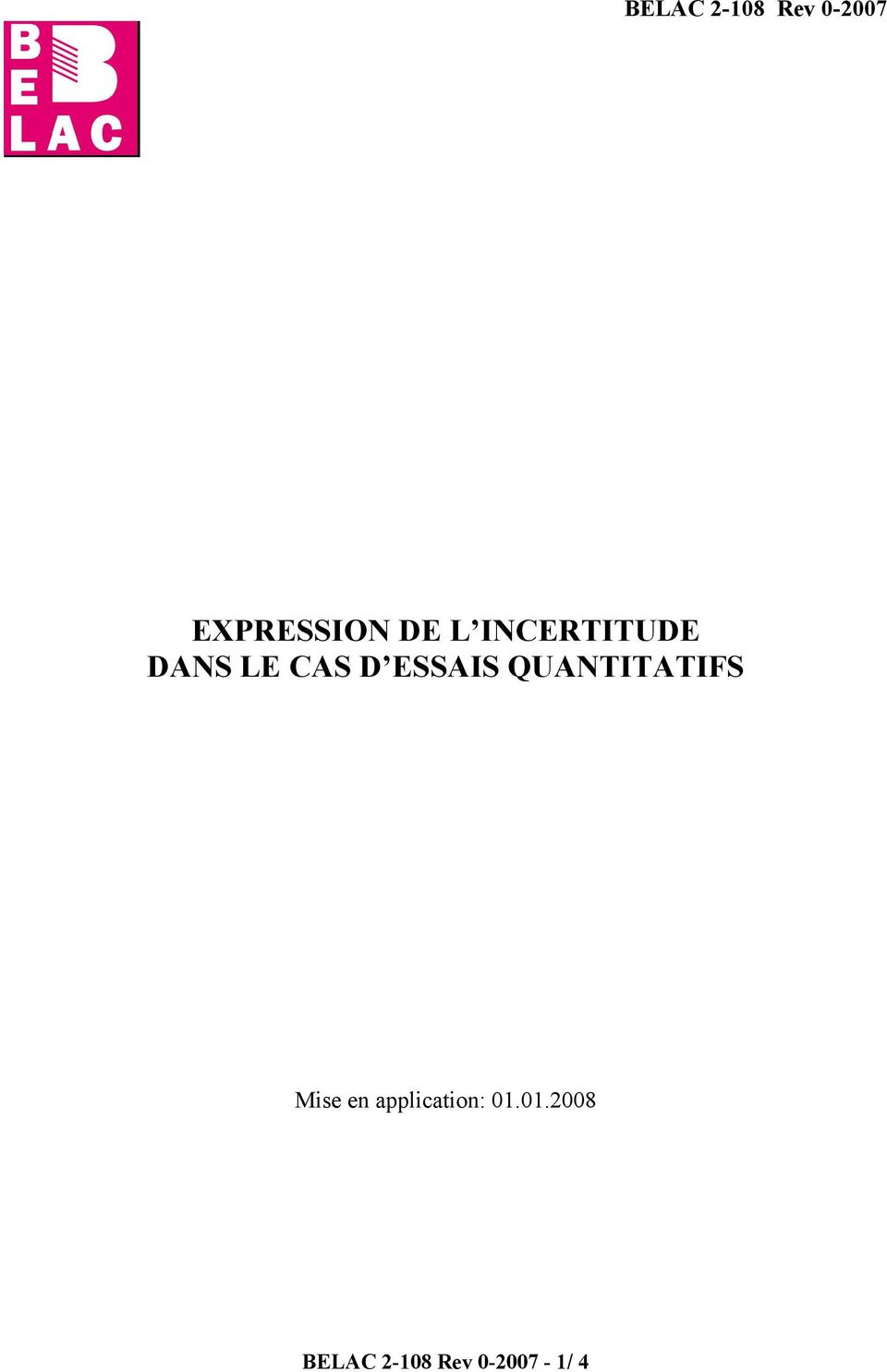 QUANTITATIFS Mise en application: 01.