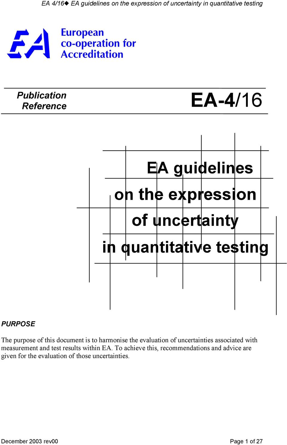 associated with measurement and test results within EA.
