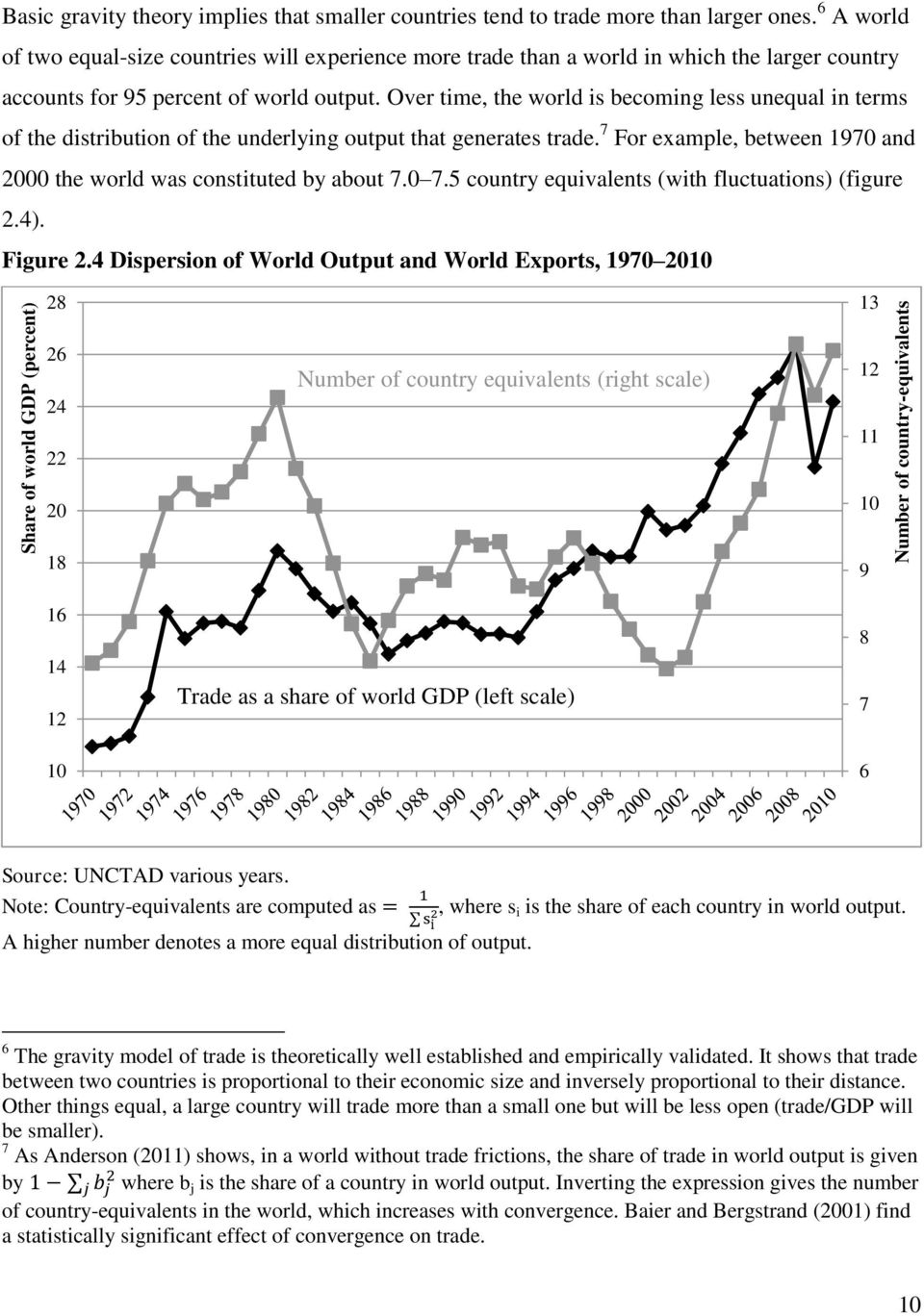 Over time, the world is becoming less unequal in terms of the distribution of the underlying output that generates trade. 7 For example, between 1970 and 2000 the world was constituted by about 7.0 7.