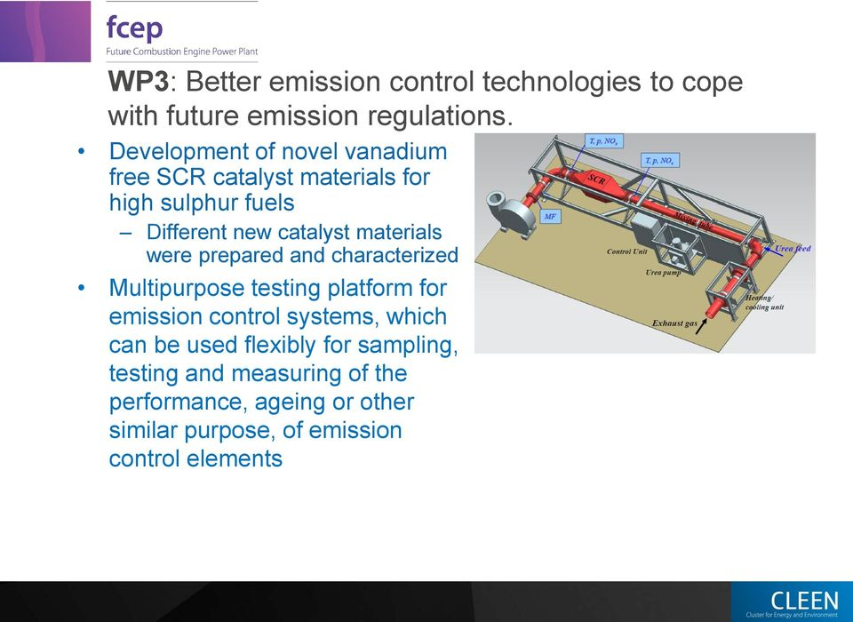 materials were prepared and characterized Multipurpose testing platform for emission control systems, which