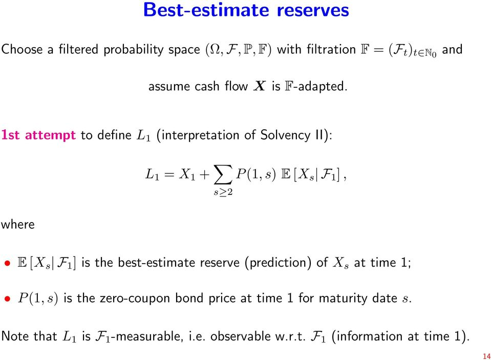 1st attempt to define L 1 (interpretation of Solvency II): L 1 = X 1 + s 2 P (1, s) E [X s F 1 ], where E [X s F 1 ]