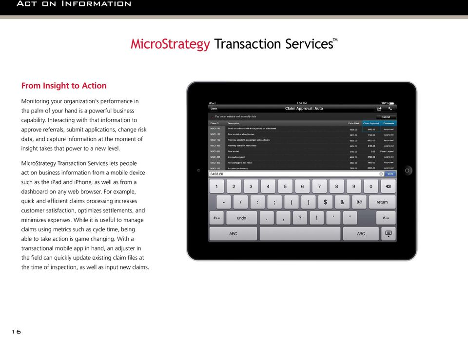 ipad 1:55 PM 100% MicroStrategy Transaction Services lets people act on business information from a mobile device such as the ipad and iphone, as well as from a dashboard on any web browser.