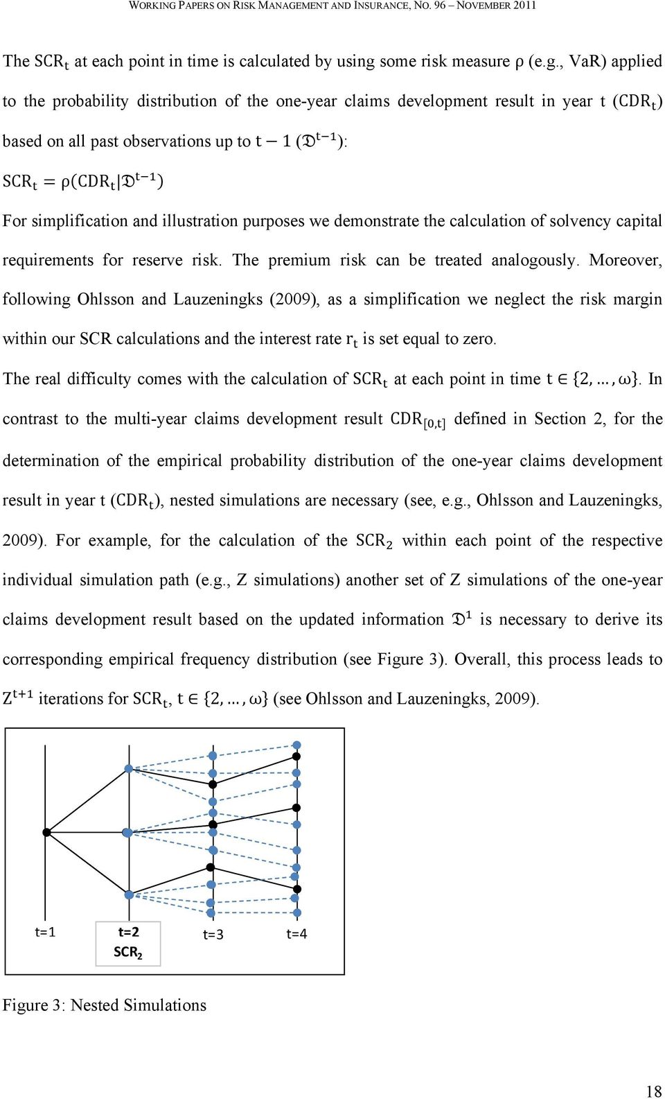 , VaR) applied to the probability distribution of the one-year claims development result in year t (CDR ) based on all past observations up to t1 ( ): SCR ρcdr For simplification and illustration