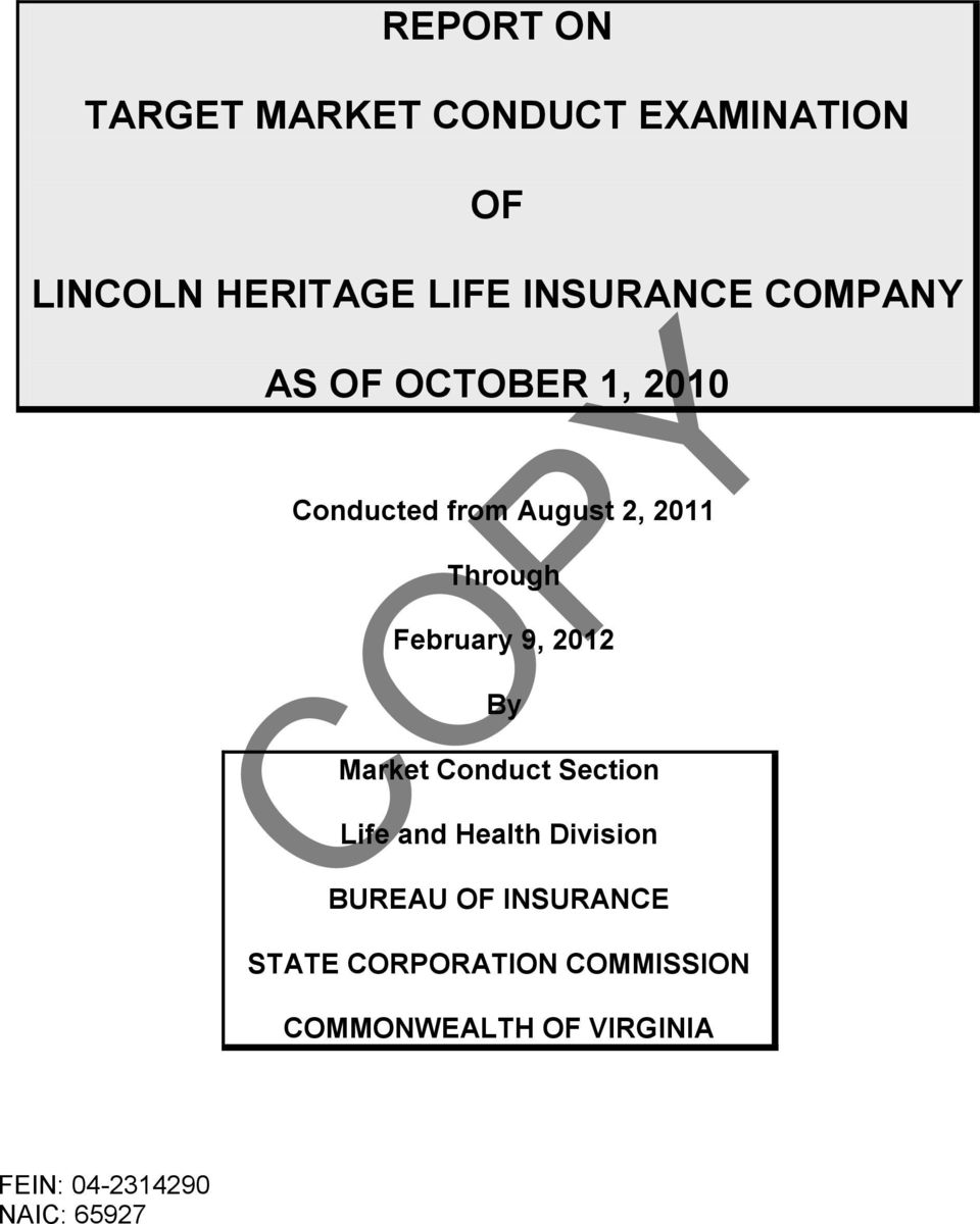 2012 By Market Conduct Section Life and Health Division BUREAU OF INSURANCE