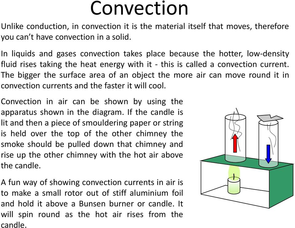 The bigger the surface area of an object the more air can move round it in convection currents and the faster it will cool. Convection in air can be shown by using the apparatus shown in the diagram.