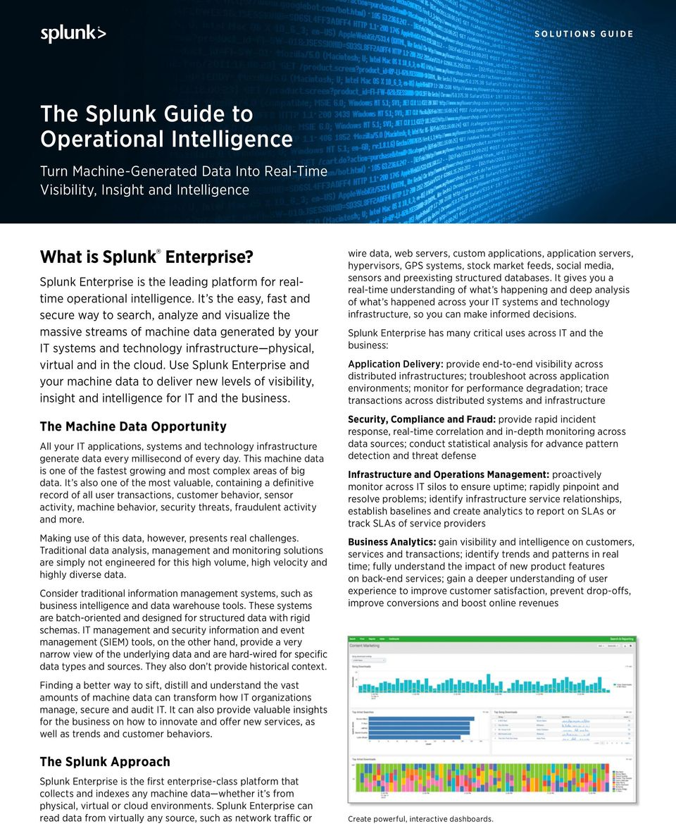 Us Splunk Entrpris n your mhin t to livr nw lvls o visiility, insiht n intllin or IT n th usinss. Th Mhin Dt Opportunity All your IT pplitions, systms n thnoloy inrstrutur nrt t vry millison o vry y.