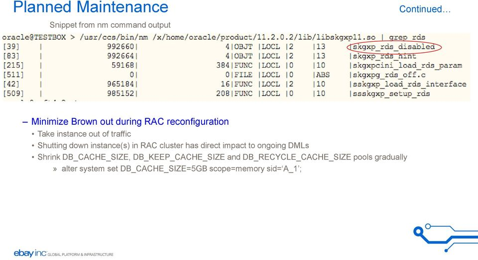 cluster has direct impact to ongoing DMLs Shrink DB_CACHE_SIZE, DB_KEEP_CACHE_SIZE and