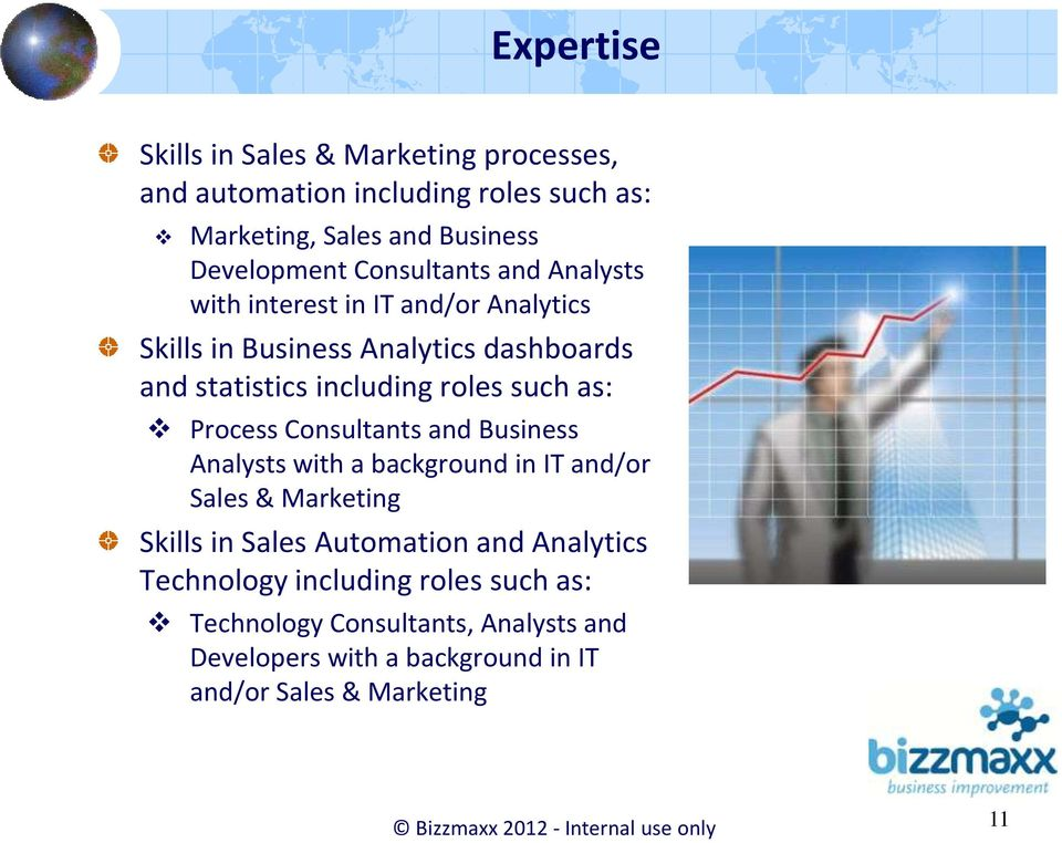 Consultants and Business Analysts with a background in IT and/or Sales & Marketing Skills in Sales Automation and Analytics Technology