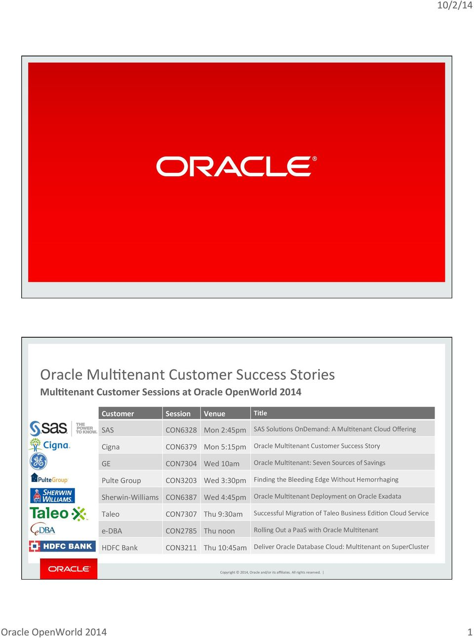 Bleeding Edge Without Hemorrhaging Sherwin- Williams CON6387 Wed 4:45pm Oracle MulBtenant Deployment on Oracle Exadata Taleo CON7307 Thu 9:30am Successful MigraBon of Taleo