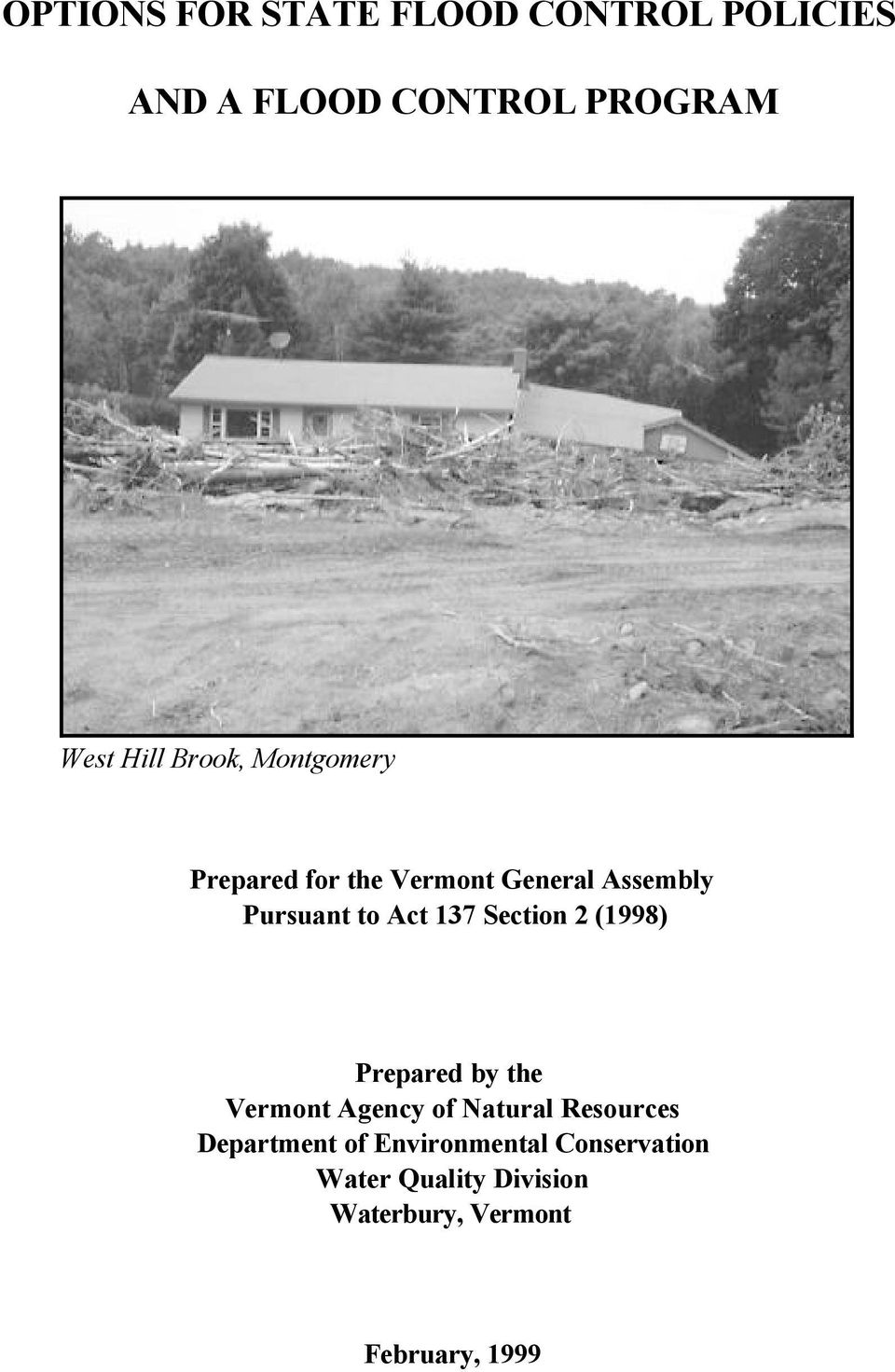 Section 2 (1998) Prepared by the Vermont Agency of Natural Resources Department