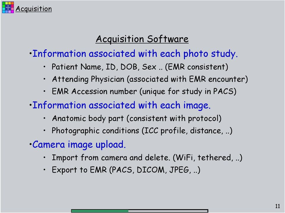 Information associated with each image.