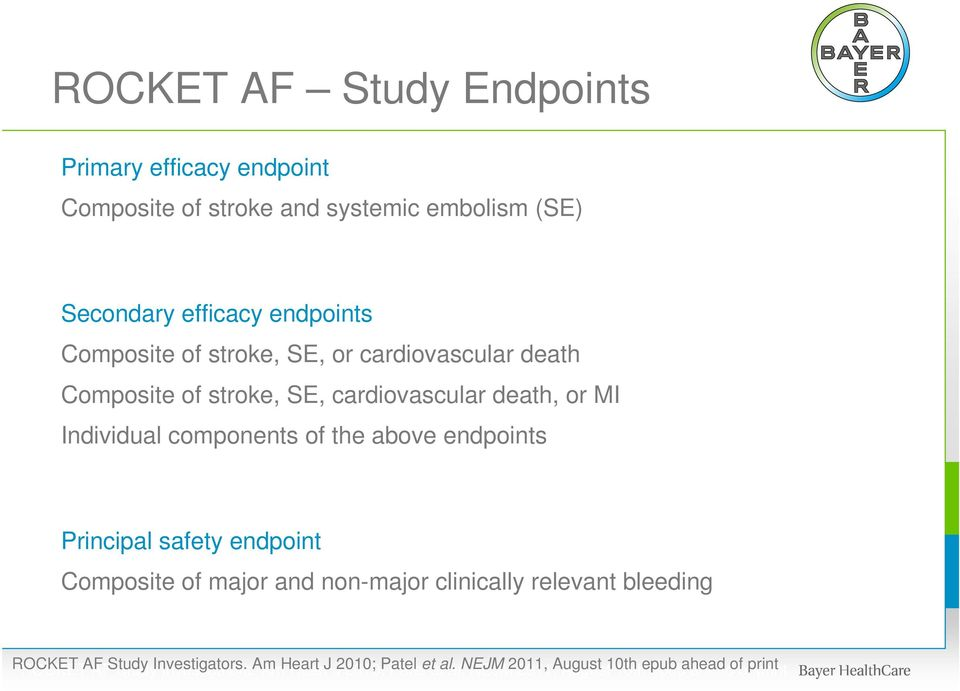 Principal safety endpoint Composite of major and non-major clinically relevant bleeding ROCKET ROCKET AF AF Study Study Investigators.