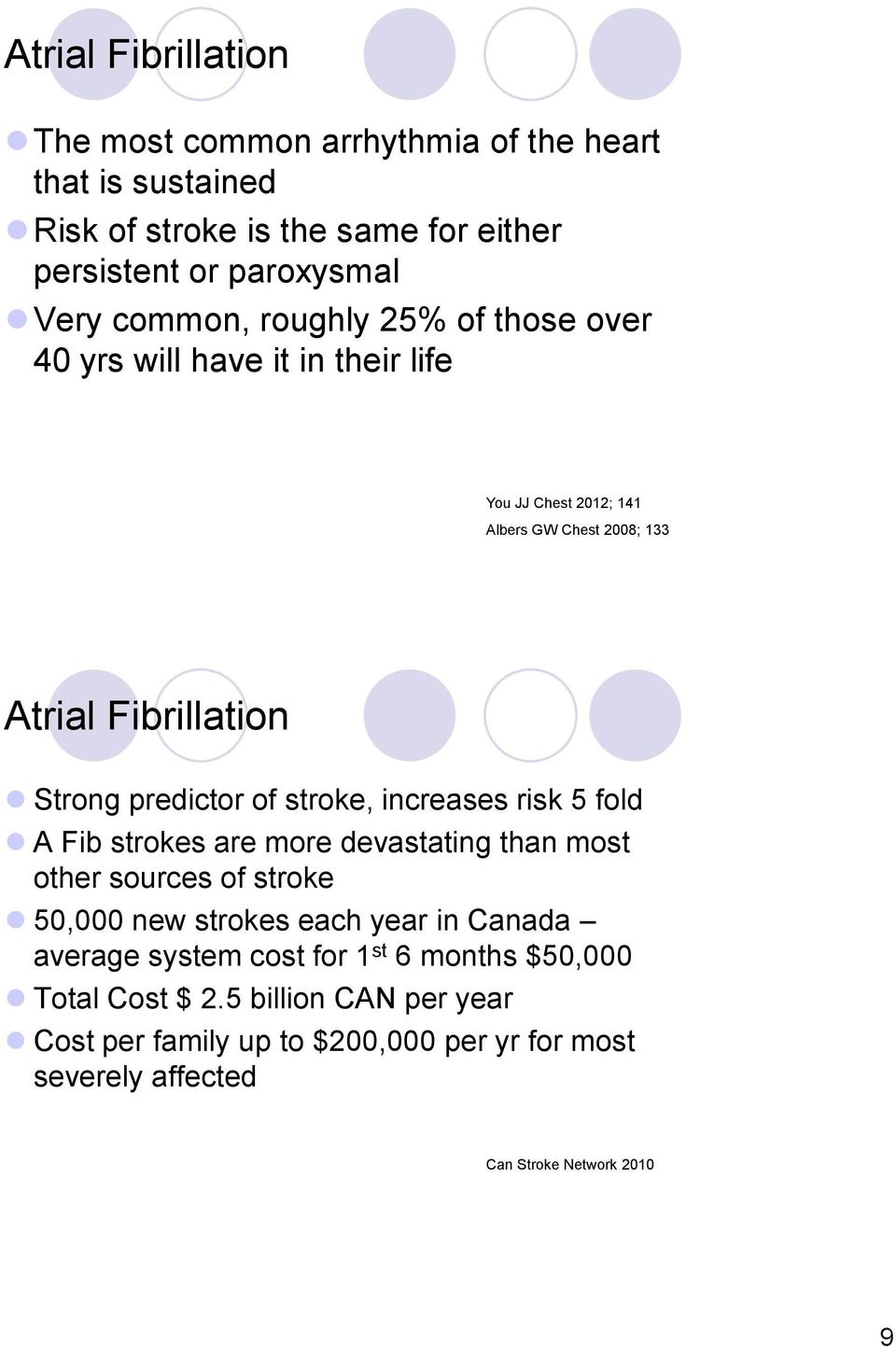 stroke, increases risk 5 fold A Fib strokes are more devastating than most other sources of stroke 50,000 new strokes each year in Canada average system