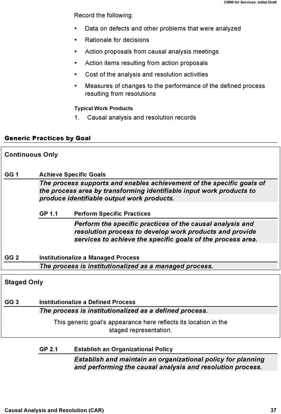 Causal analysis and resolution records Generic Practices by Goal Continuous Only GG 1 Achieve Specific Goals The process supports and enables achievement of the specific goals of the process area by