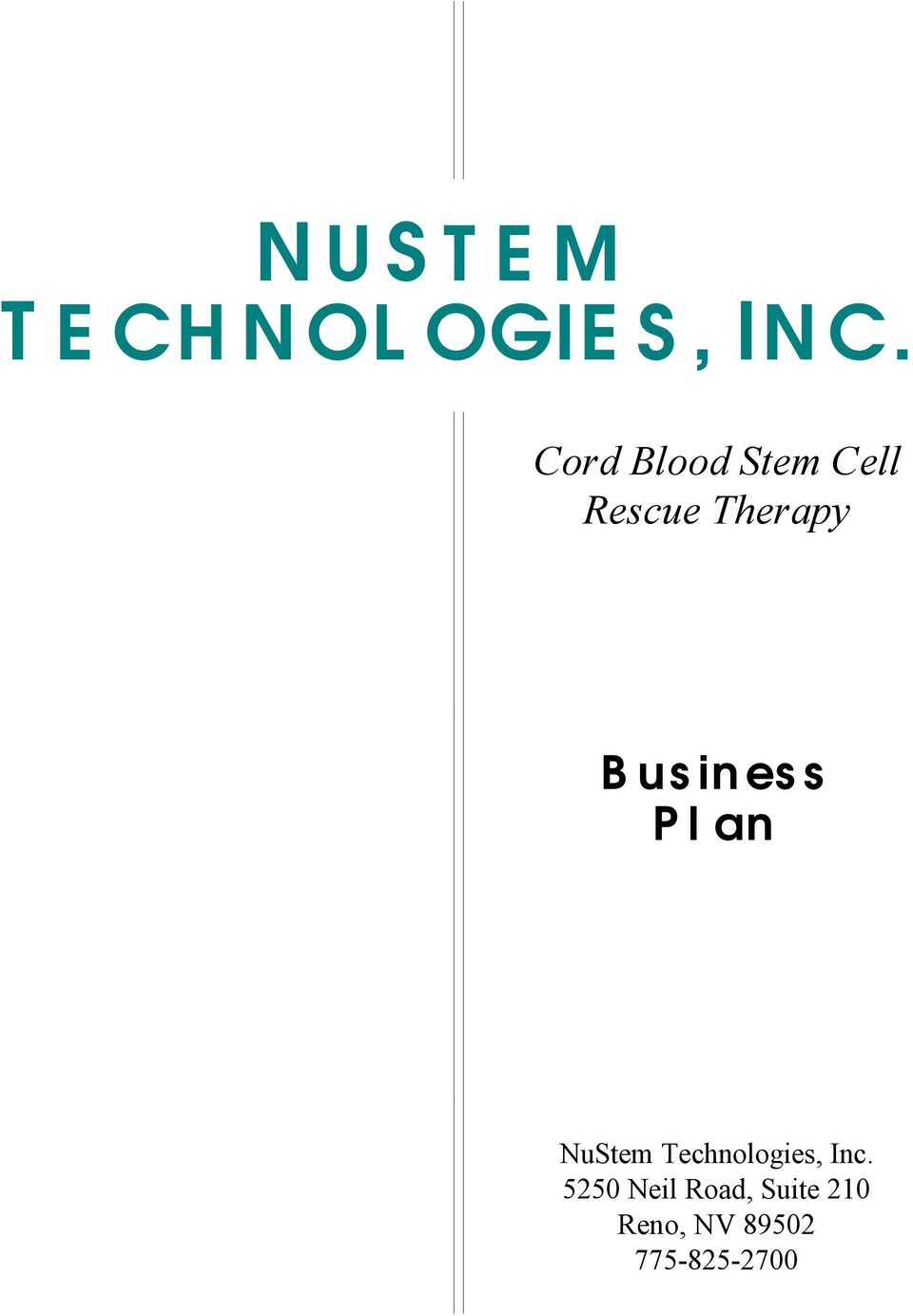 Business Plan NuStem Technologies, Inc.