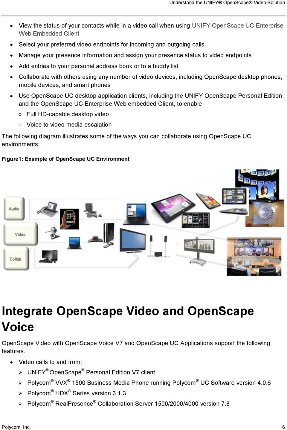 others using any number of video devices, including OpenScape desktop phones, mobile devices, and smart phones Use OpenScape UC desktop application clients, including the UNIFY OpenScape Personal
