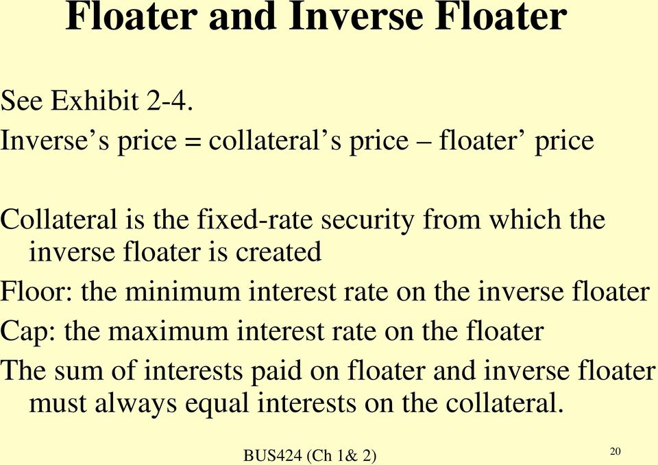 which the inverse floater is created Floor: the minimum interest rate on the inverse floater