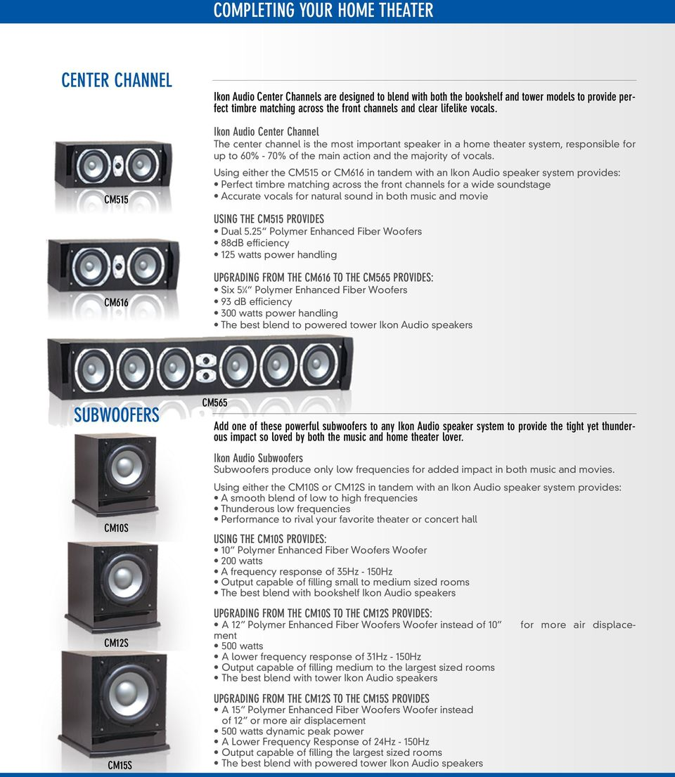 Ikon Audio Center Channel The center channel is the most important speaker in a home theater system, responsible for up to 60% - 70% of the main action and the majority of vocals.