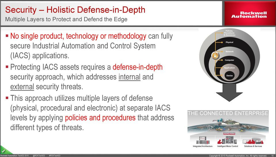 Protecting IACS assets requires a defense-in-depth security approach, which addresses internal and external security threats.