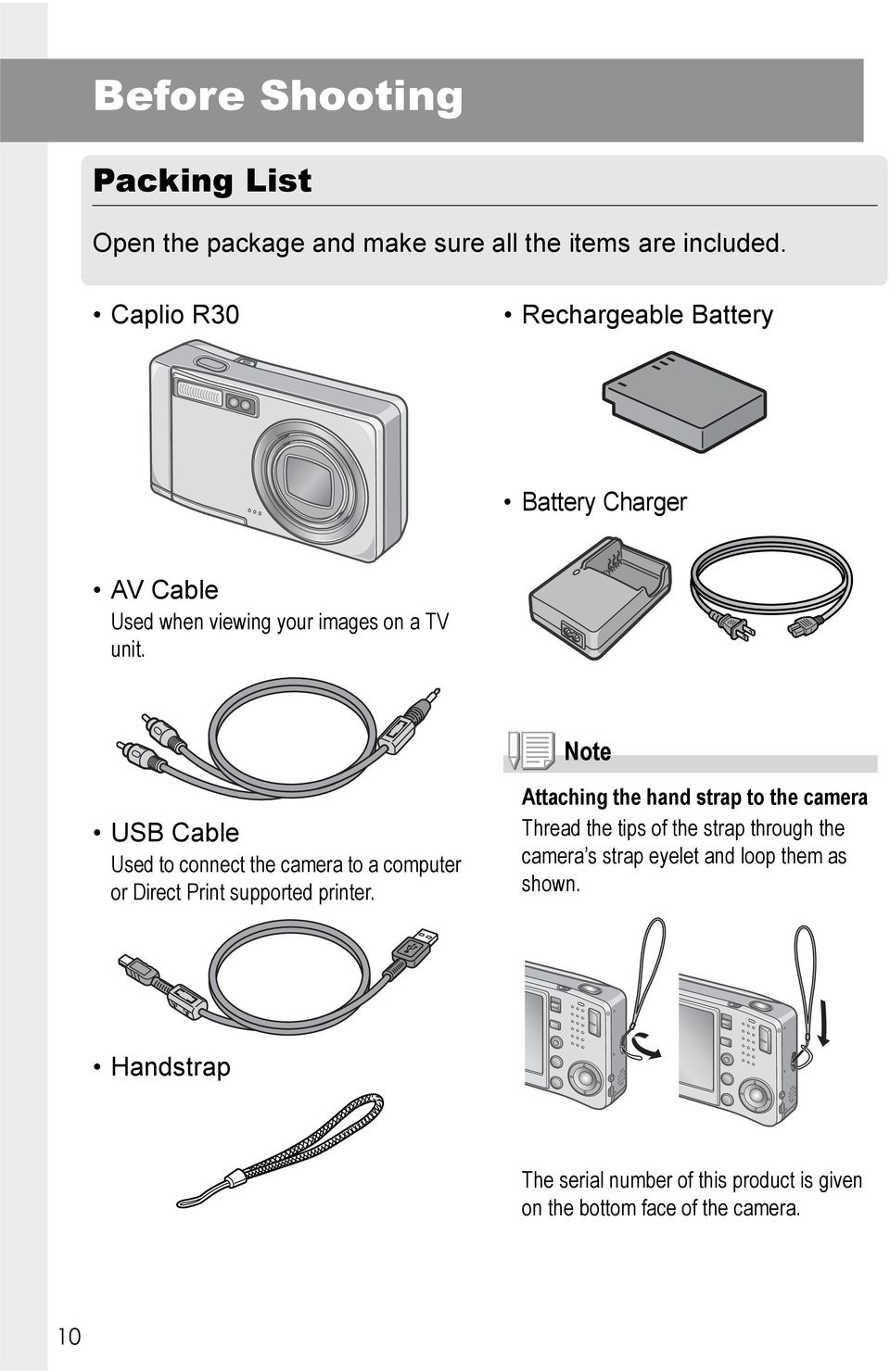 Note USB Cable Used to connect the camera to a computer or Direct Print supported printer.