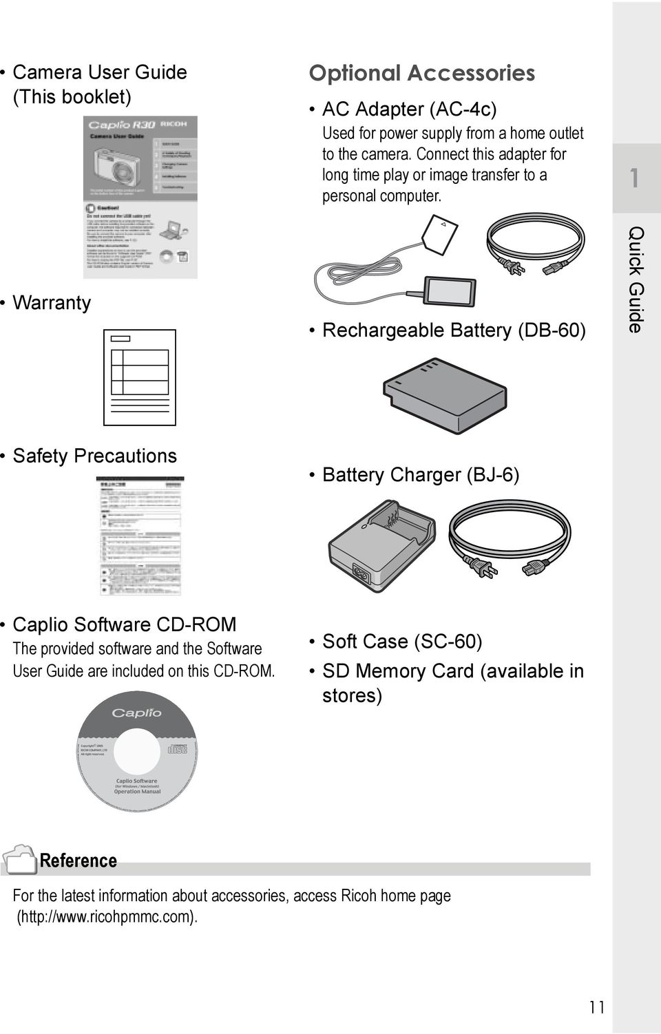 Warranty Rechargeable Battery (DB-60) Quick Guide Safety Precautions Battery Charger (BJ-6) Caplio Software CD-ROM The provided software and