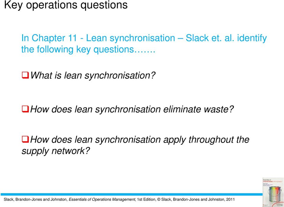 What is lean synchronisation?