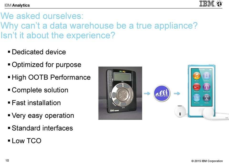 Dedicated device Optimized for purpose High OOTB Performance