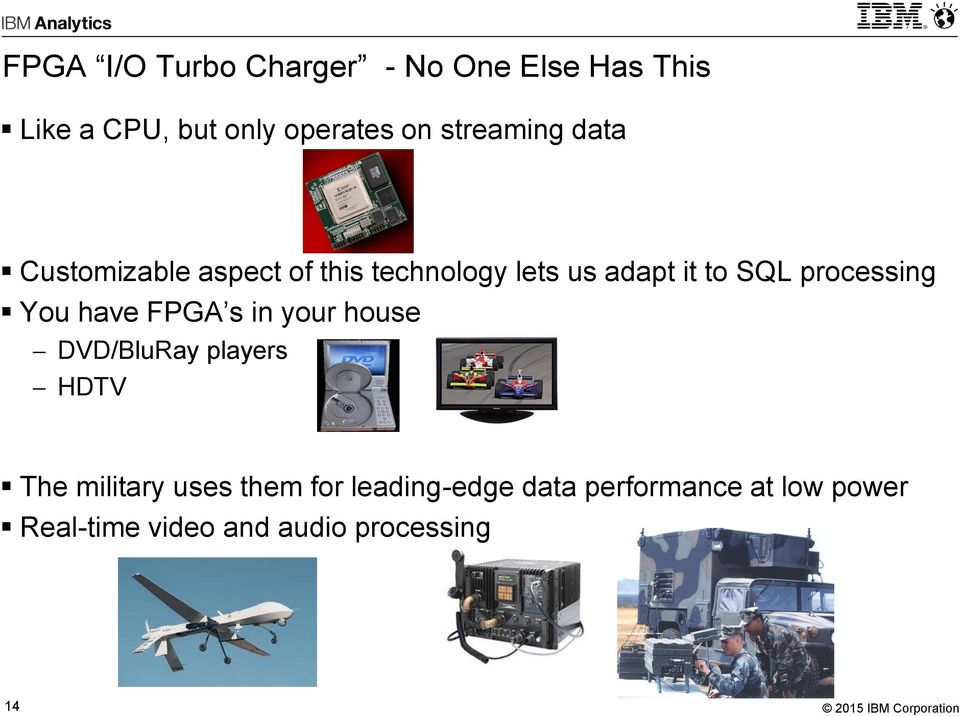 processing You have FPGA s in your house DVD/BluRay players HDTV The military uses