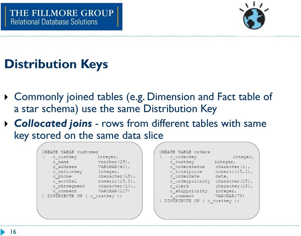 same Distribution Key Collocated joins - rows from