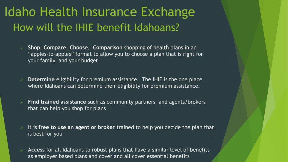 assistance. The IHIE is the one place where Idahoans can determine their eligibility for premium assistance.