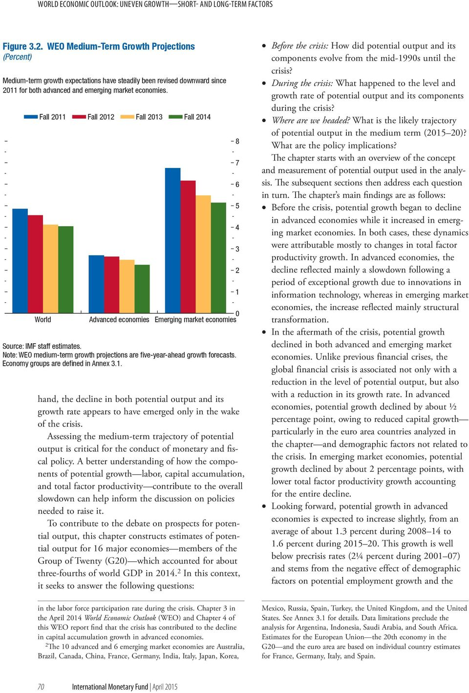 Fall 11 Fall 1 Fall 13 Fall 14 World Advanced economies Emerging market economies Source: IMF staff estimates. Note: WEO medium-term growth projections are five-year-ahead growth forecasts.