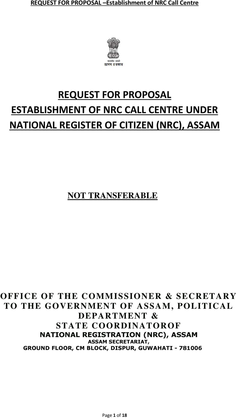GOVERNMENT OF ASSAM, POLITICAL DEPARTMENT & STATE COORDINATOROF NATIONAL REGISTRATION