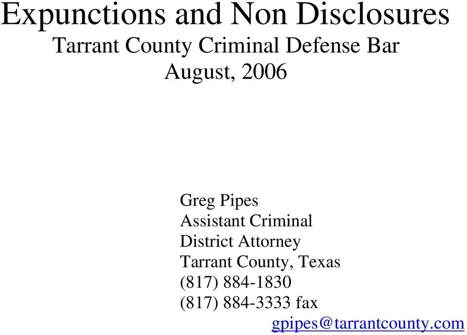 Assistant Criminal District Attorney Tarrant County,