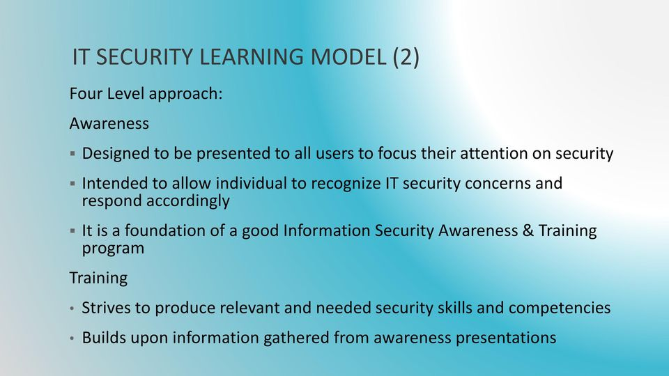 accordingly It is a foundation of a good Information Security Awareness & Training program Training Strives to