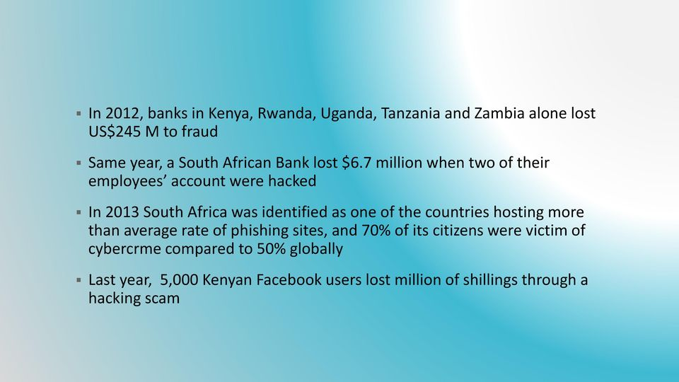 7 million when two of their employees account were hacked In 2013 South Africa was identified as one of the